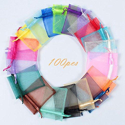COCOScent Mix Colour Gift Pack 4x6 inch 100pcs Wedding Drawstring Bag Baby Bath Supplies Net Bag Gift Bag Candy Bag & Drawstring (100pcs ,20Colors, 10 X 15 ()