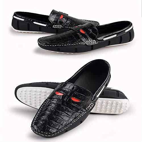 Driving Antiscivolo EU Colore Nero Classic Uomo da Smart 44 Shoes Fibbia Pattern Crocodile Dimensione Scarpe Barca per qFvSH8