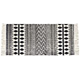 Ustide Cotton Tassel Kilim Carpet Indian Black&Cream Rug Hand Woven Braided Rug,2'×4.3'