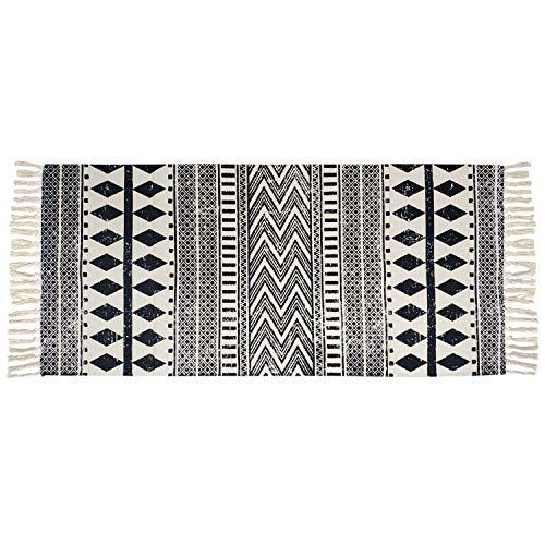 USTIDE Cotton Tassel Kilim Black&Cream Laundry Room Boho Rug Hand Woven Braided Doormat for Bathroom Porch Bedroom,2'×4.3'