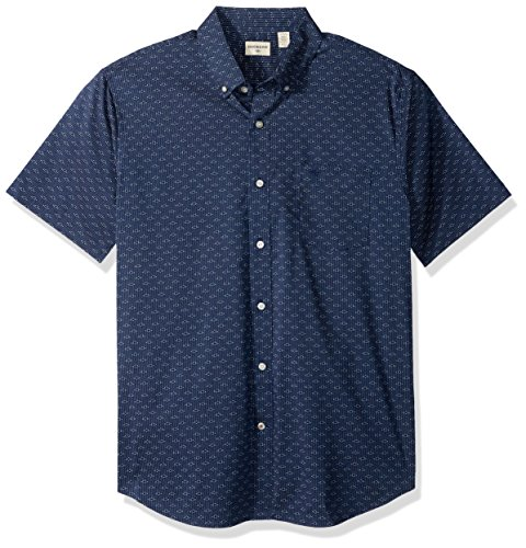 Dockers Men's Comfort Stretch Soft No Wrinkle Short Sleeve Button Front Shirt, Montecito Blue, M