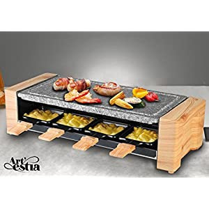 Artestia Electric Raclette Grill with High Density Granite Grill Stone,1600W High Power ETL Certified, Two-Tier Separate Heat Source for Plate/Side Dishes,Serve the whole family (Grill Stone Raclette)
