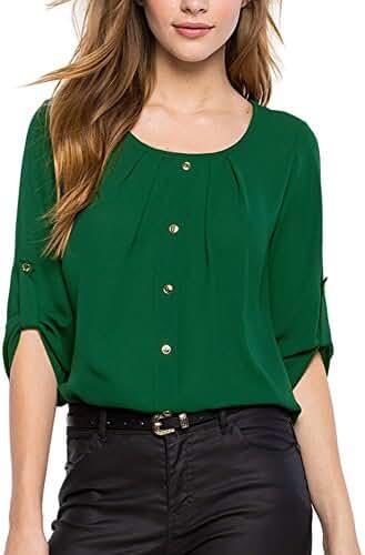 EFINNY Women Summer Chiffon Sleeveless Blouse Tank Shirt Dark Blue
