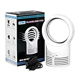 Air Multiplier Bladeless Fan - Portable Mini Electric Safe Table Cooler with Adapter (White)