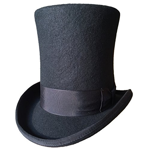 Wool Felt Top Hat Adult (Authentic Black Wool Felt Victorian Steampunk Extra Tall Top Hats 9
