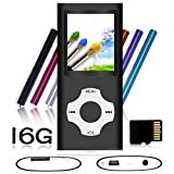 Tomameri - Compact and Portable MP3 / MP4 Player with Rhombic Button ( Including a 16 GB Micro SD Card ) Supporting Photo Viewer, E-Book Reader and Voice Recorder and FM Radio Video Movie - Black