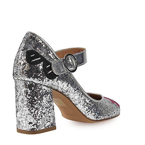 Love Moschino Ladies Shoes Pumps Da Paillettes Argento Primavera-estate 2018