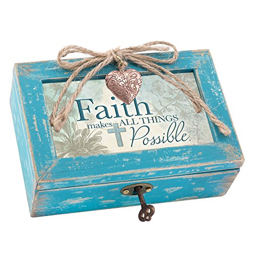 Cottage Garden Faith Makes All Things Possible Teal Wood Locket Jewelry Music Box Plays Tune Amazing Grace by Cottage Garden