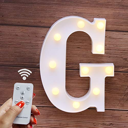 Elnsivo LED Marquee Letter Lights 26 Alphabet Light Up Name Sign Remote Control Letter Lamp for Wedding Birthday Party Battery Powered Christmas Lamp Home Bar Decoration (Letter G-Remote Control) (Decor Name Letters)