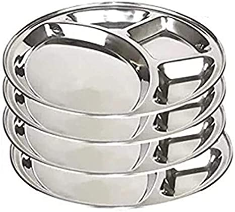 Stainless Steel Round Divided Dinner Plate 3 sections 12 Inches Set of 2