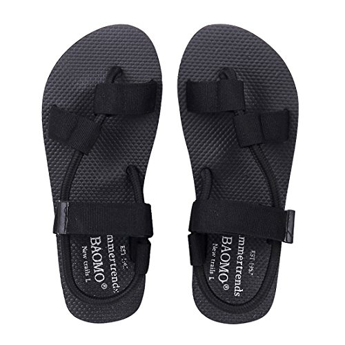 Leisurely Pace Flat Summer Sandals Black Strap Flip Flops Comfortable Hook and Loop Beach Sandal for Women 10-L