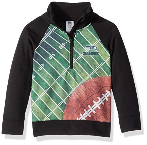 NFL Seattle Seahawks Unisex 1/4 Zip Shirt, Black, 3T
