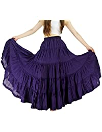 YSJ Women's Cotton 5 Tiered A Line Pleated Maxi Skirt Long Dance Swing Skirts 37.5-inch