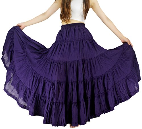 YSJ Women's Cotton 5 Tiered A Line Pleated Maxi Skirt Long Dance Swing Skirts 37.5-inch (One Size, Purple)