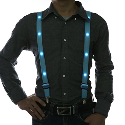 Party Supplies,Glowseen Light up Glowing Clip on Adjustable Suspenders for Party -