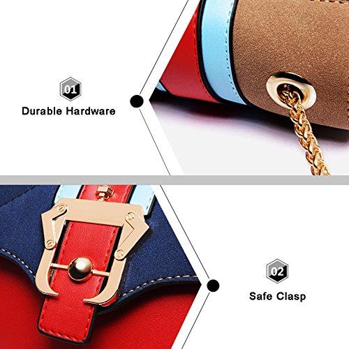 Yoome Contraste Color Flap Bolsa Mini Cadena Bolsos De Hombro Para Las Niñas Bolsos De Bolsillo Multi Para Las Mujeres - Negro rojo