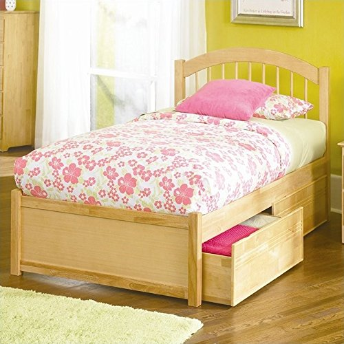 Maple Queen Footboard Size - Atlantic Furniture Windsor Platform Bed with Flat Panel Footboard in Natural Maple - Queen
