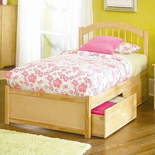 Atlantic Furniture Windsor Platform Bed with Flat Panel Footboard in Natural Maple-Queen - Queen