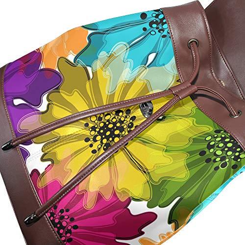 Piel Talla De Única Bolso Mochila Mujer Para Multicolor Dragonswordlinsu q0tHEwUx