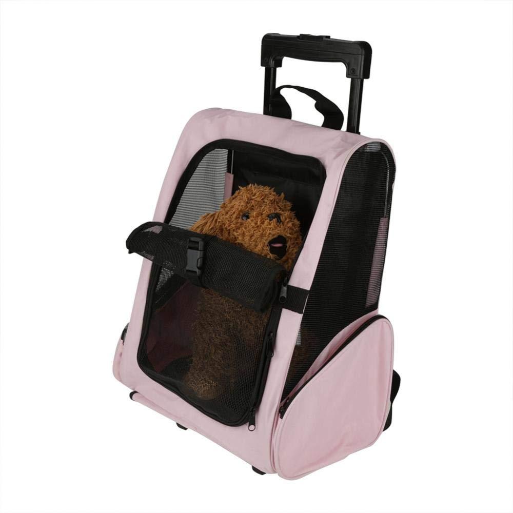 Yosooo Wheel Around 3-in-1 Pet Travel Carrier, Pet Carrier Dog Cat Rolling Backpack Travel Transporting Wheel Luggage Bag(Pink)