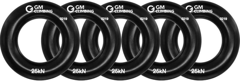 GM CLIMBING Peque?o Anillo de Rappel Escalada de Aluminio para Escalada en Roca arborista Rescate Slackline Hamaca Negro Paquete de 5