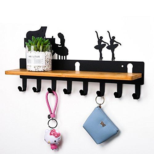 Closet Organizer Rack with Shelf for Coat,Hat and Jewellery,8 Hooks| 6 Hooks | Wall Mount Stainless Steel Hooks (Piano Black 8 Hooks)