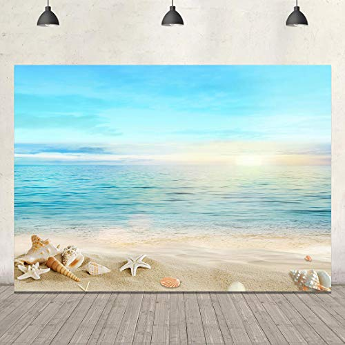 Summer Shell Beach Backdrop Tropical Sea Photography Background 7x5ft Sunlight Ocean Seaside Starfish Scene Party Baby Shower Birthday Banner Portraits Pool Table Accessories Videos Photobooth Props