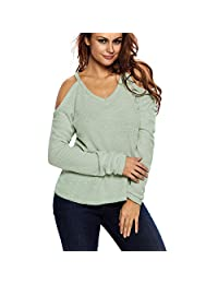 Kalin L Women Off Open Shoulder Loose Knit Cable Pullover Sweater Top Blouse Black
