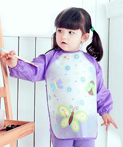 Happy Cherry Child Cartoon Waterproof Artists Painting Smock Clothes Baby Feeding Eating Aprons,Butterfly by Happy Cherry (Image #1)