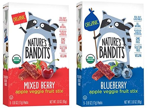 Nature's Bandits Organic Fruit & Veggie Stix, Variety Pack (Blueberry & Mixed Berry), 0.6 Ounce 5 Pack (2 Count) Gluten Free, Vegan, (Bandit Pack)