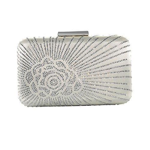 DMIX Womens Large Satin Silk Hard Clutch Evening Bag and Handbags with Crystal for Wedding Bridal Party Prom Ivory