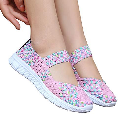 Syfinee Women Slip-On Light Weight Elastic Trainer Sports Water Shoes Sneakers Summer