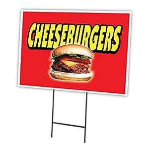 "CHEESEBURGERS 18""x24"" Yard Sign & Stake outdoor plastic coroplast window"