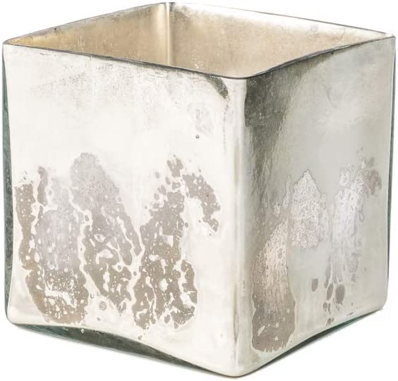 """Serene Spaces Living Silver Mercury Glass Cube Vase – Handmade Vintage Inspired Vase with Antique Feel in 5"""" Cube Shape, Ideal for Weddings, Holiday Decor, Events, Home"""