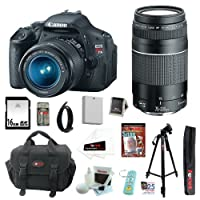 Canon EOS Rebel T3i 18 MP CMOS Digital SLR Camera with EF-S 18-55mm f/3.5-5.6 IS II Zoom Lens & EF 75-300mm f/4-5.6 III Telephoto Zoom Lens + 11pc Bundle 16GB Deluxe Accessory Kit by Canon