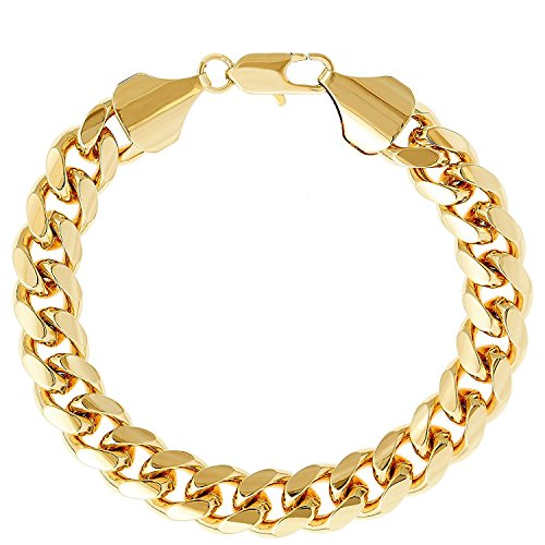 Gold Chain BRACELET 9MM 24K Round Diamond Cut Smooth Classic Cuban Link USA made Guaranteed for life (9)