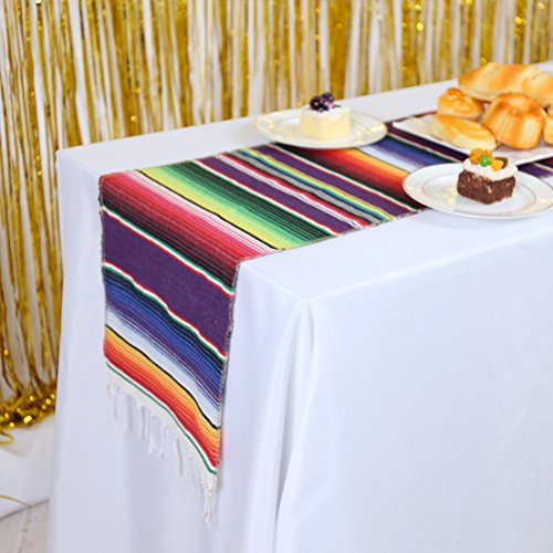 GFCC Pack of 5 Mexican Table Runner 14 x 84 inch Serape Table Runners for Party Wedding Banquet Decorations Mexican Blanket -