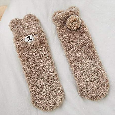 NDCJSKCalcetines térmicos de Engrosamiento de Felpa de Invierno Medias Femeninas Calcetines de Terciopelo Coral Calcetines de