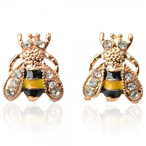CRB For Women Girls Gold Tone Crystal Bumblebee Bumble Honey Bee Stud ()