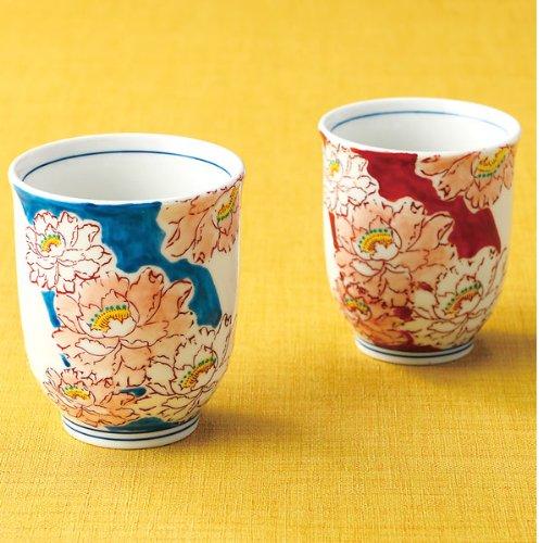Kutani set teacup peony by Kutani