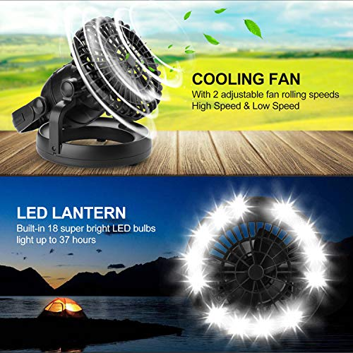 Odoland Portable LED Camping Lantern with Ceiling Fan – Hurricane Emergency Survival Kit