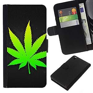 KLONGSHOP // Tirón de la caja Cartera de cuero con ranuras para tarjetas - Weed Leaf - HTC DESIRE 816 //