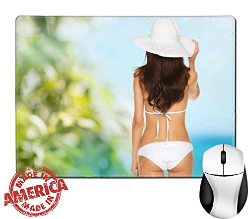 """Luxlady Natural Rubber Mouse Pad/Mat with Stitched Edges 9.8"""" x 7.9"""" vacation beauty and lingerie concept back view of beautiful woman in bikini IMAGE 25545479"""