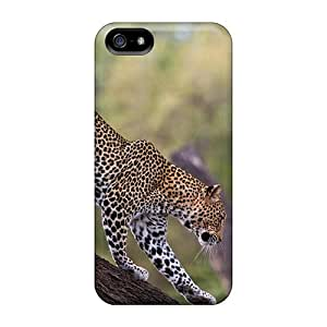 Cute Appearance Cover/tpu Leopard On Tree Trunk Case For Iphone 5/5s