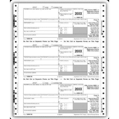 4 Part Set Continuous 5498 SA Tax Forms by PrintEZ