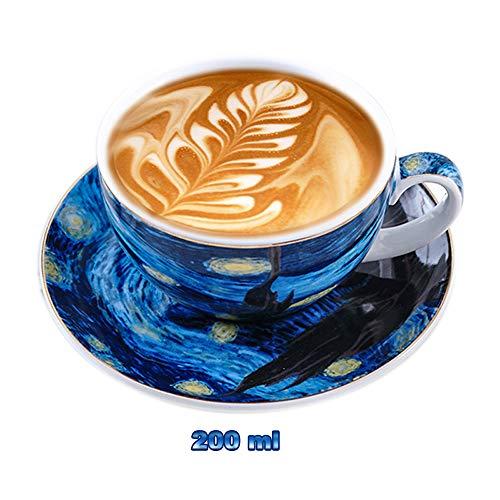(Starry Espresso Americano Coffee Cup Mug Set European Luxury Gold Edge Latte Fancy Coffee Cup Mug Cappuccino Afternoon Tea Mug (200 ml))