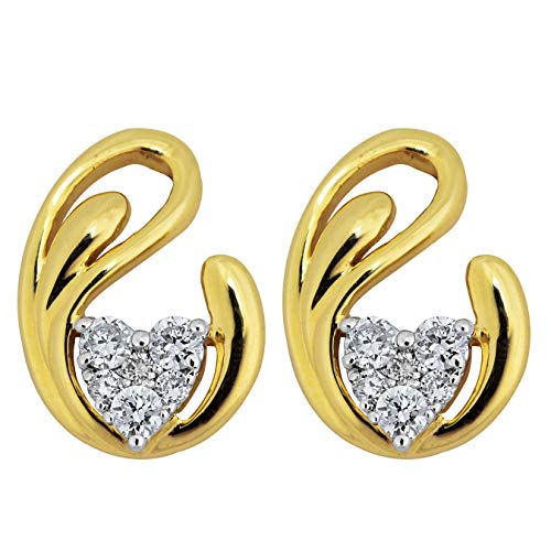 Aurex 0.19 Carat Natural Round Diamond (I-J Colour, SI1-SI2 Clarity) 14k 2.048 Grams Net Wt Yellow Gold Earrings for Women and Girls