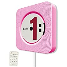 KECAG CD Player Wall Mountable Home Audio with Remote Control Bluetooth Built-in HiFi Speakers USB MP3 3.5mm Headphone Jack AUX input/output, Pink