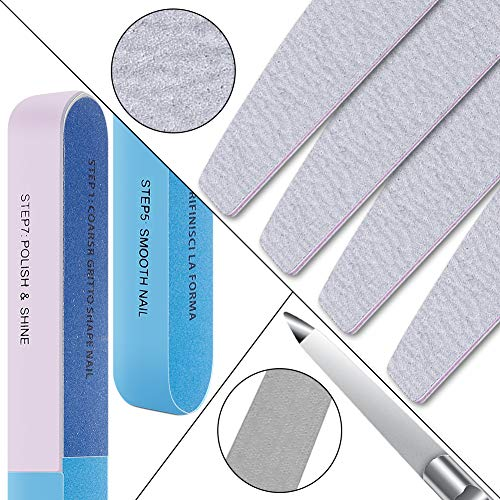 Nail File Double Sided Emery Board Stainless Steel Nail File Natural and Acrylic Nail Care 12 Pcs Manicure Tool Kit (Diamond Sand)