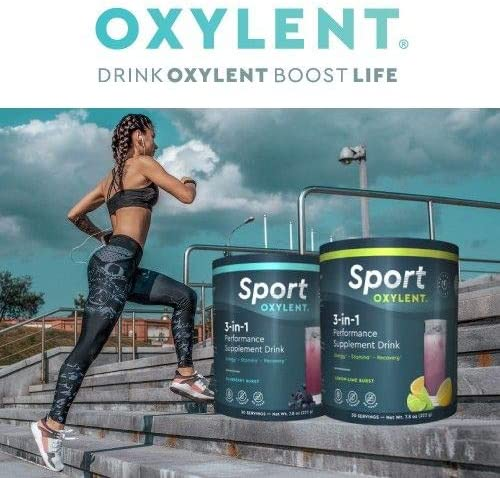 Oxylent Sport 3-in-1 Performance Supplement Drink – Sugar-Free, Effervescent, Easy Absorption of Vitamins, Creatine Minerals, Natural Energy, Supports Stamina, Blueberry Burst Flavor, 7.8 Ounce